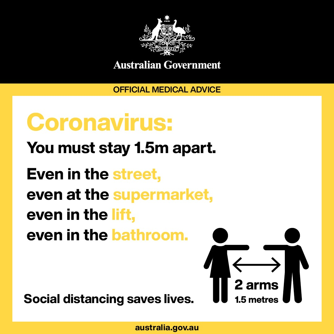 Covid-19 Official Social Distancing advice by Australian Government