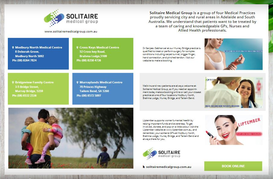 Health and wellbeing magazine Solitaire Medical Group, Doctors in Adelaide