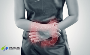 A woman suffering from Crohn's disease has sudden flare ups such as abdominal pain